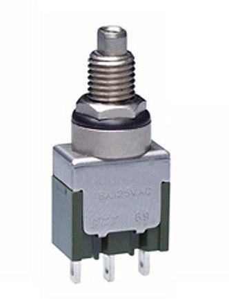 NKK Switches Single Pole Double Throw (SPDT) Momentary Push Button Switch, Bushing, 30 V dc, 125 V ac, 250 V ac