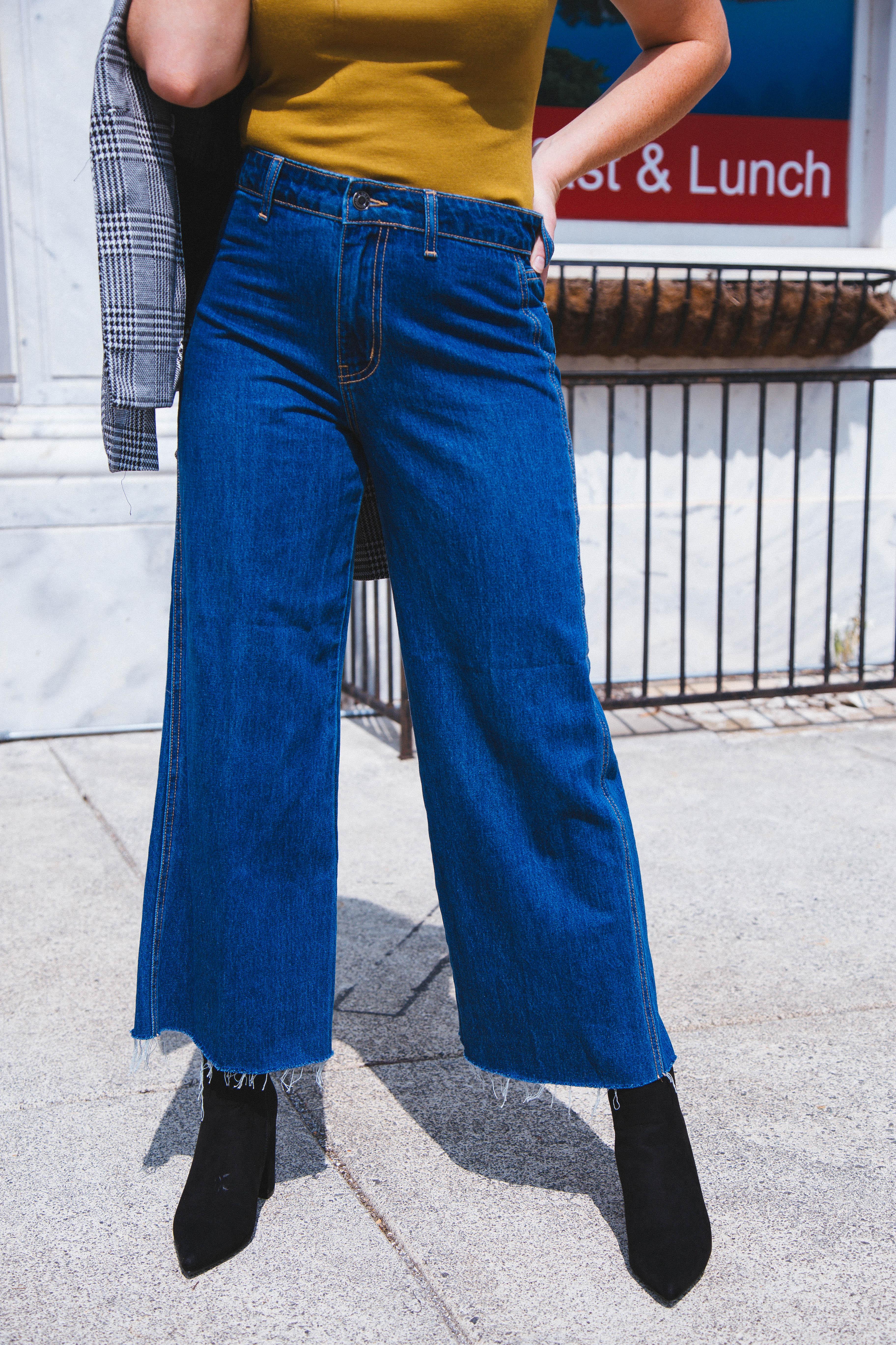 Donna High Rise Wide Leg Jeans Medium Denim