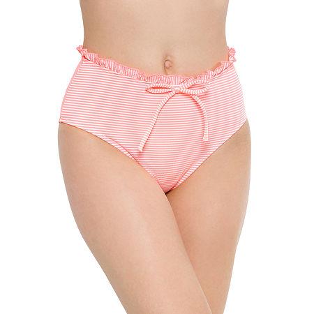 Arizona Seersucker Striped High Waist Bikini Swimsuit Bottom Juniors, X-large , Pink