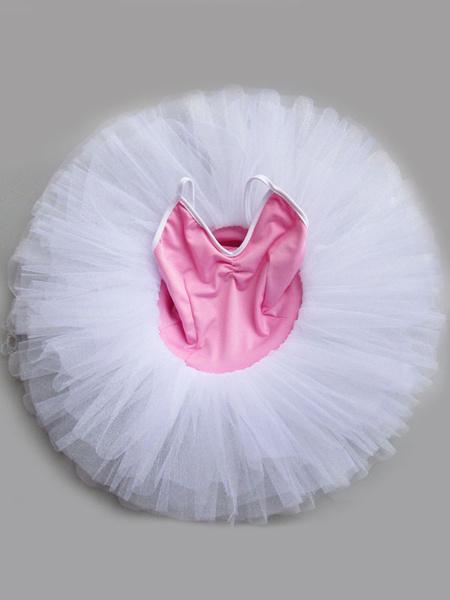 Milanoo Pink Ballet Dress Tutu Ballerina Dress Straps Ballet Dance Costume