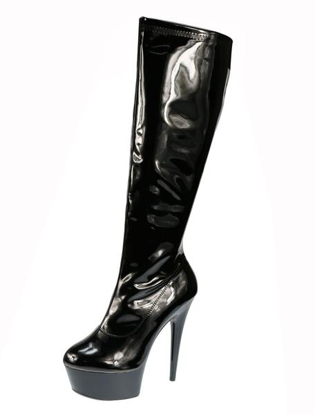 Milanoo Blue Sexy Boots High Heel Boots Round Toe Platform Mid Calf Boots