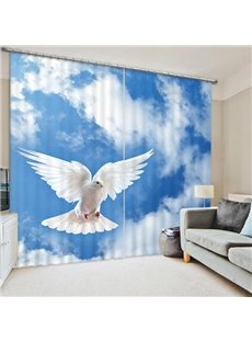 3D White Dove Flying in the Blue Sky Printed Blackout Animal Curtains