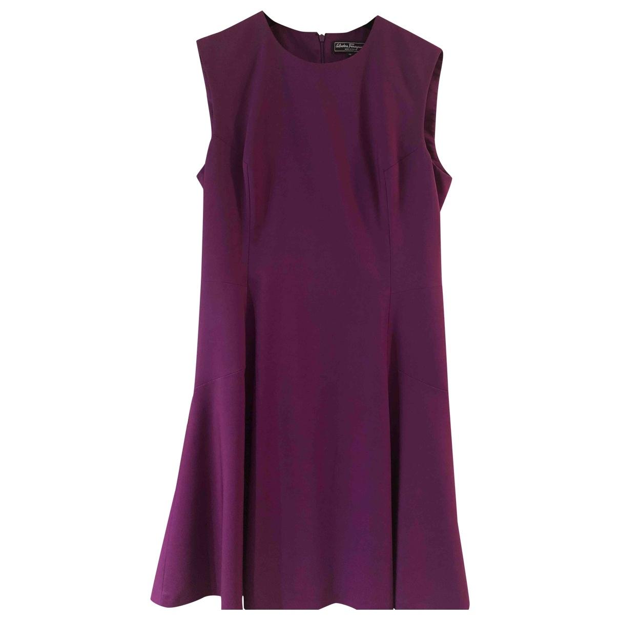 Salvatore Ferragamo \N Purple Wool dress for Women 46 IT