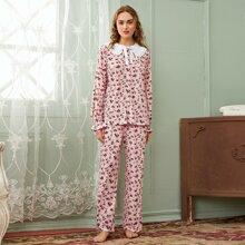 Schlafanzug Set mit Peter Pan Kragen, Rueschen und Blumen Muster