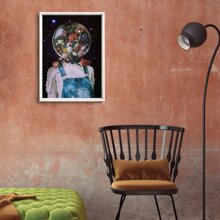 Planet & Maedchen Wandmalerei 1pc