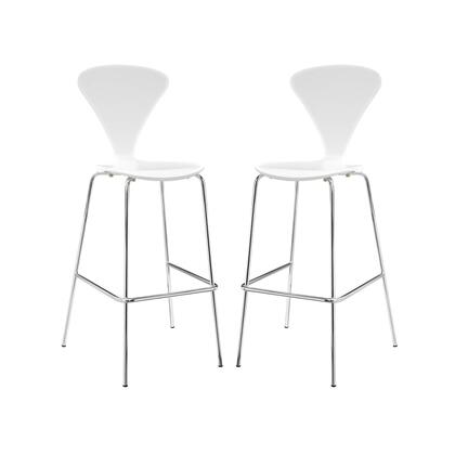 Passage Collection EEI-4231-WHI Set of 2 Dining Bar Stools with Chrome Legs  Non-Marking Plastic Foot Caps  Footrest Support and Lacquered Plywood