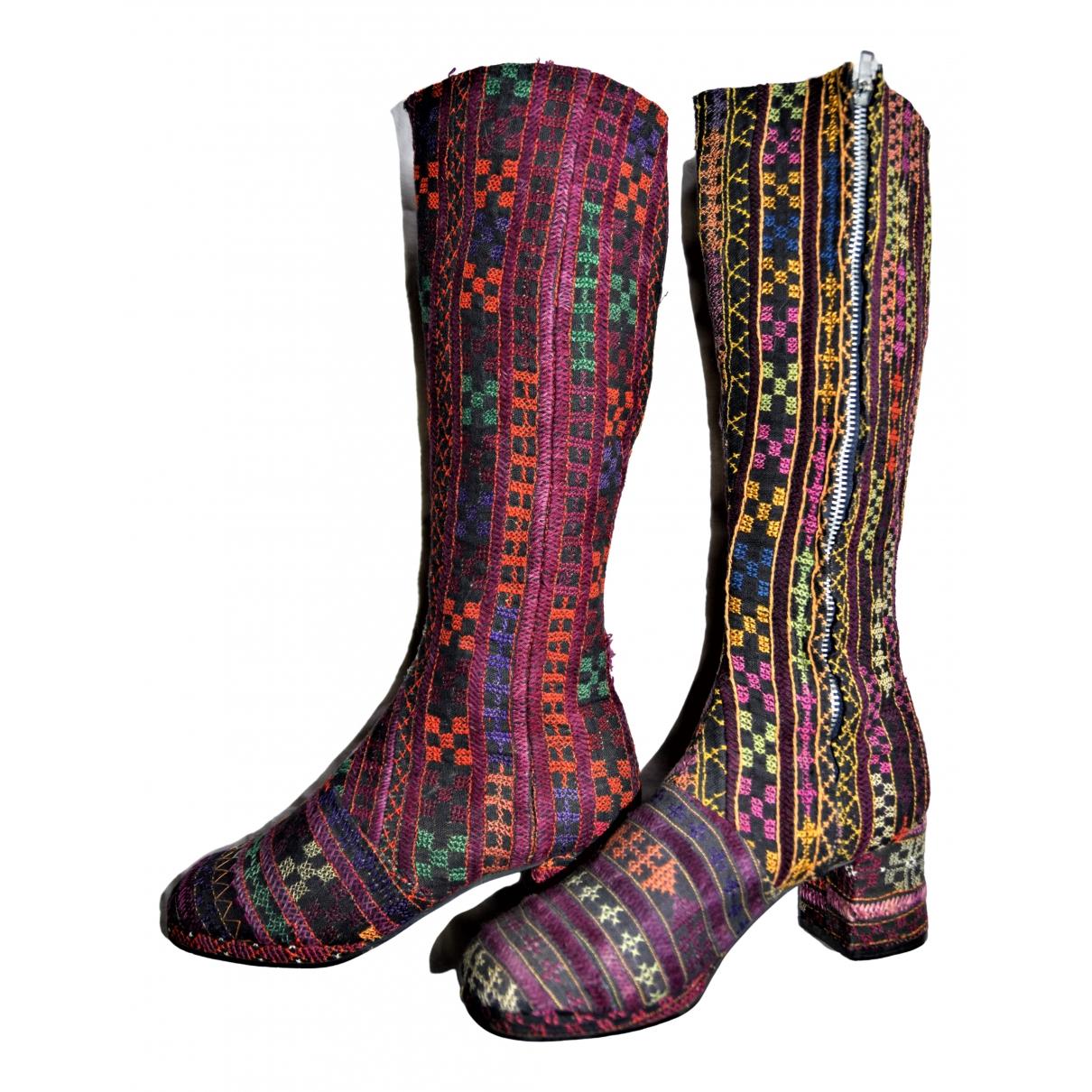 Non Signe / Unsigned Hippie Chic Stiefel in  Bunt Leinen