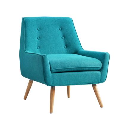 BM144013 Fabric Upholstered Button Tufted Wooden Chair  Blue and