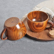 1pc Wooden Tea Cup With Handle