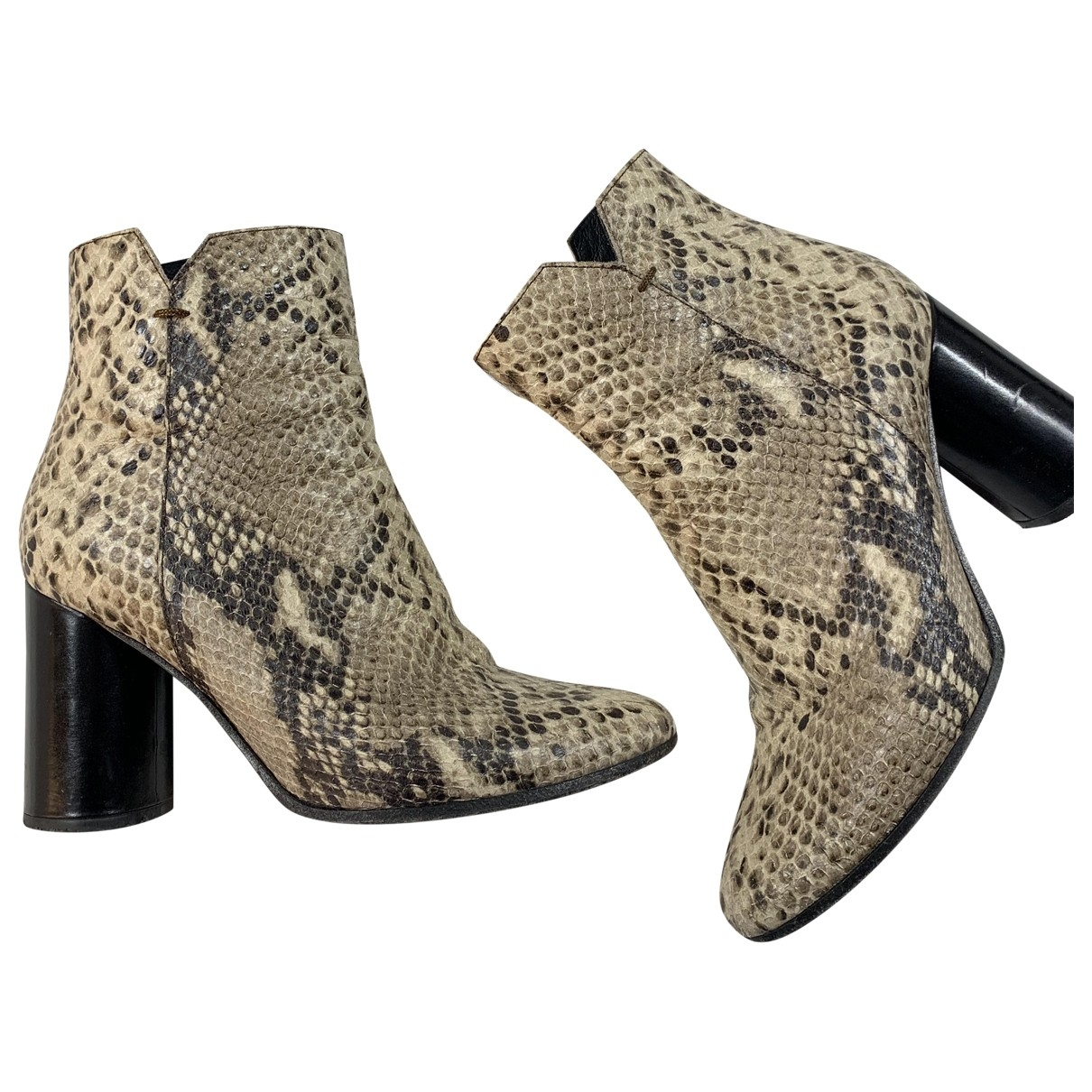 Maje \N Beige Leather Ankle boots for Women 36 EU