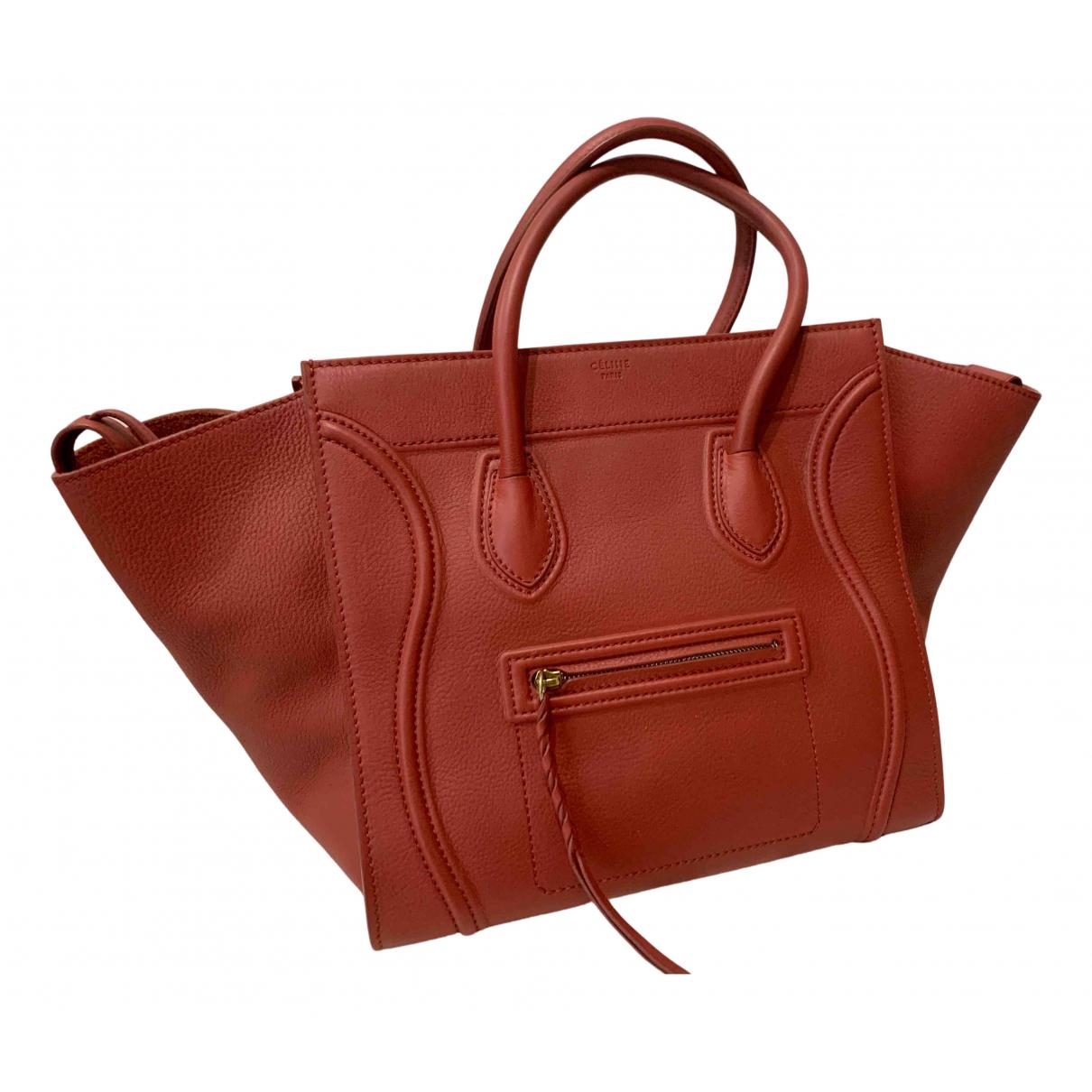 Celine - Sac a main Luggage Phantom pour femme en cuir - bordeaux