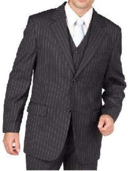 Mens Charcoal Gray Pinstripe Suit Separate Any Size Jacket & Pants