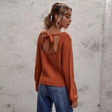 Pullover mit Ausschnitt, Band hinten und quadratischem Kragen