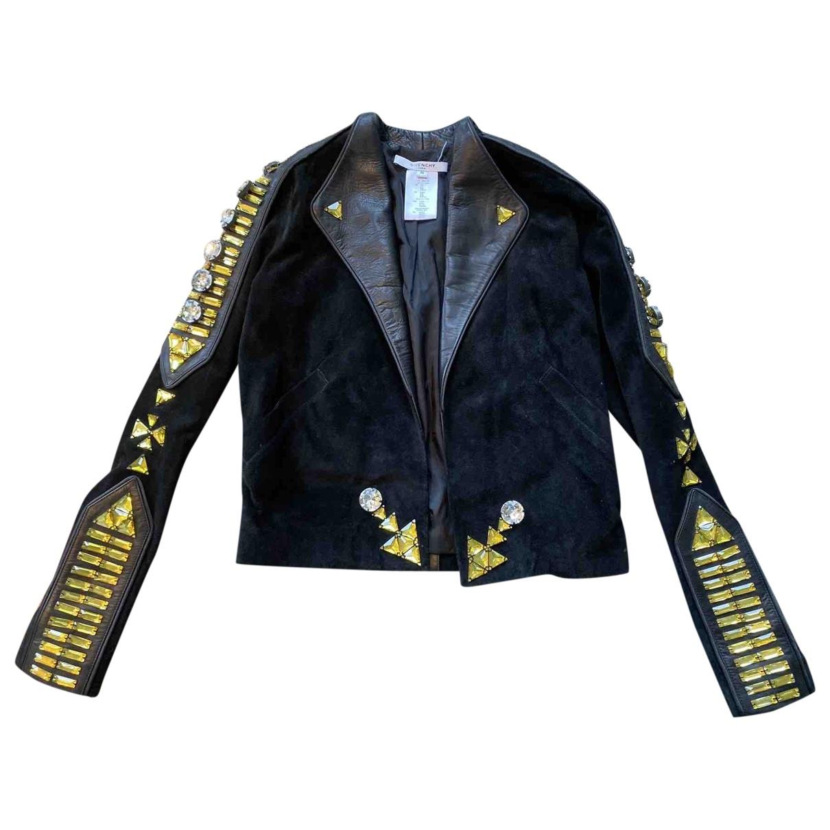Givenchy \N Jacke in  Schwarz Veloursleder