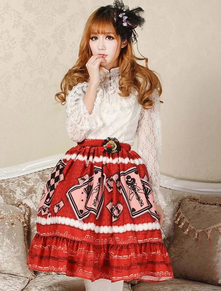 Milanoo Elegant Red Lace Printing Lolita Skirt