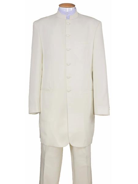 Men's 6 Button Wool Two Piece Mandarin Banded Collar Cream Long Jacket