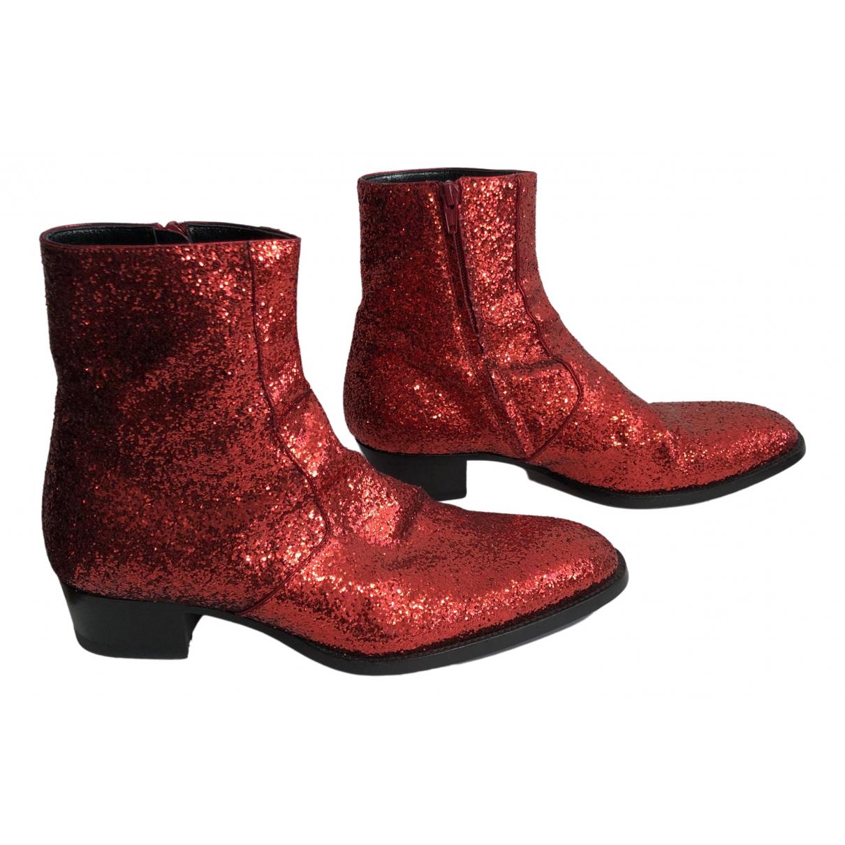 Saint Laurent \N Red Glitter Boots for Men 41 EU