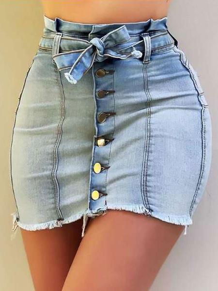Milanoo Women Skirt Light Sky Blue Lace Up Denim Distressed Body-conscious Mini Skirt