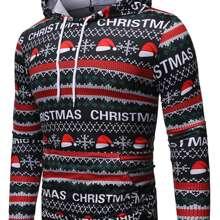 Sweatshirt mit Weihnachten Muster und Kapuze