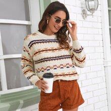 Pullover mit Streifen und Geo Muster