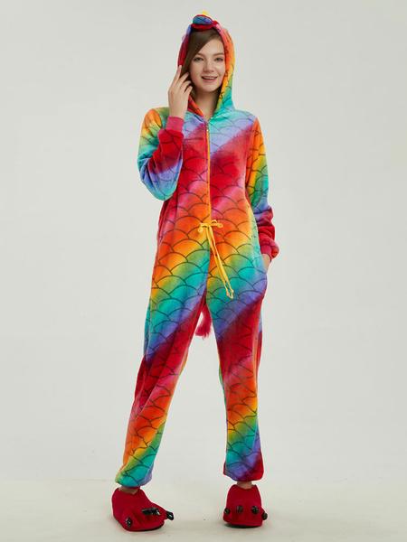 Milanoo Rainbow Unicorn Pajamas Kigurumi Onesie Pegasus Fish Scales Flannel Unisex Adults Cartoon Winter Sleepwear Animal Costume Halloween