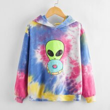 Capucha de tie dye con estampado de extraterrestre