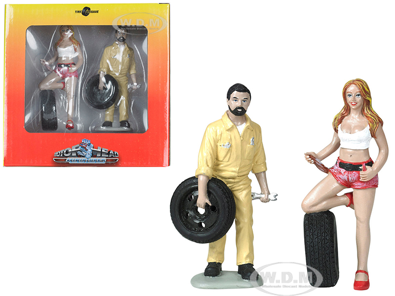 Andie and Gary Tire Brigade 2 piece Figurine Set 1/18 by Motorhead Miniatures
