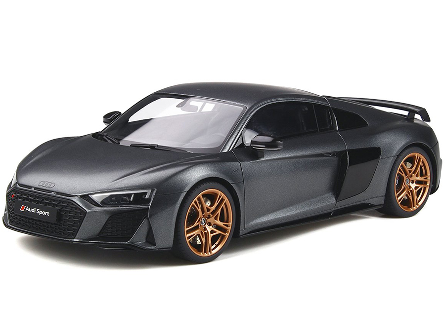 Audi R8 Decennium Matt Daytona Gray Metallic with Copper Wheels 1/18 Model Car by GT Spirit
