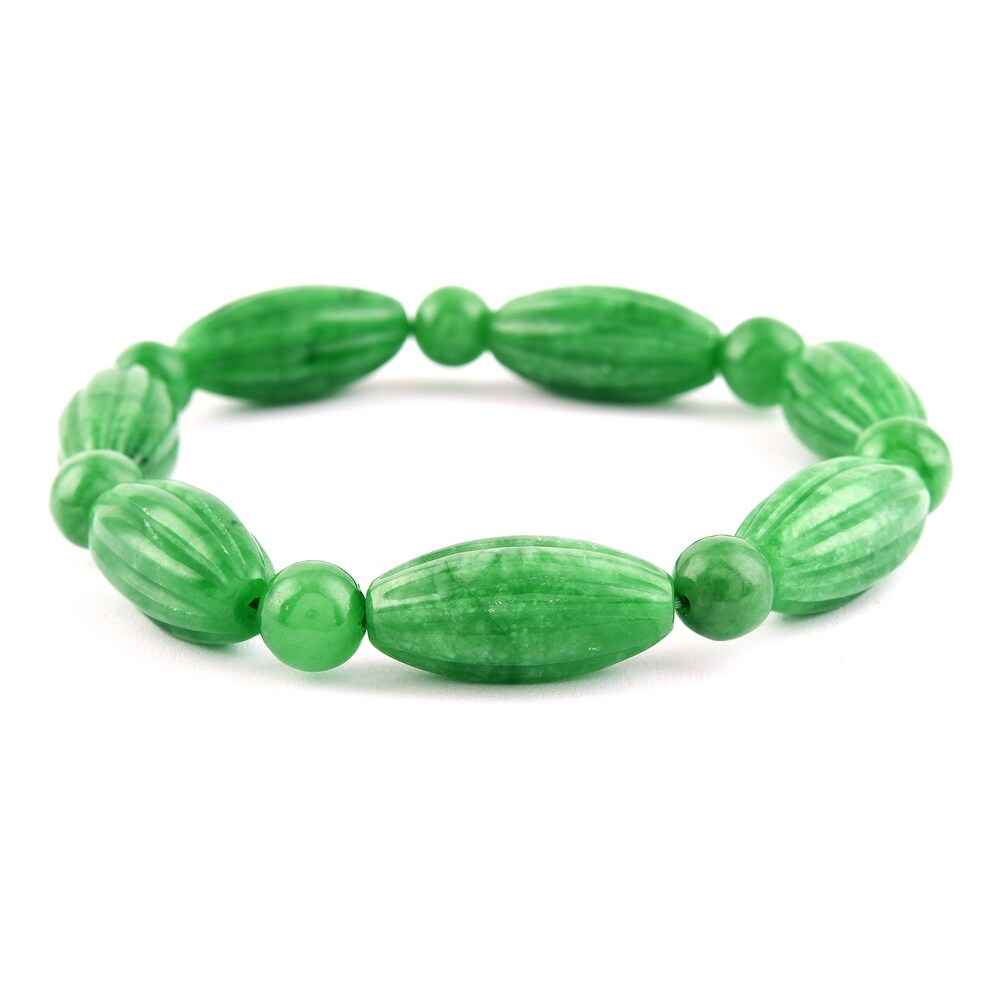 Green Dyed Jade Beads Bracelet Size 6.5 Inch Ct 286 - Bracelet 6.5'' (Jade - Green - Green - Bracelet 6.5'')