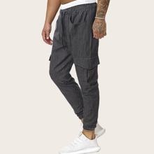 Pantalones cargo de hombres con cordon con bolsillo con solapa de lado de rayas