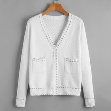Pocket Patched Button Up Cardigan