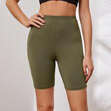 High Waist Solid Biker Shorts