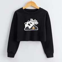 Toddler Girls Panda And Letter Graphic Crop Sweatshirt