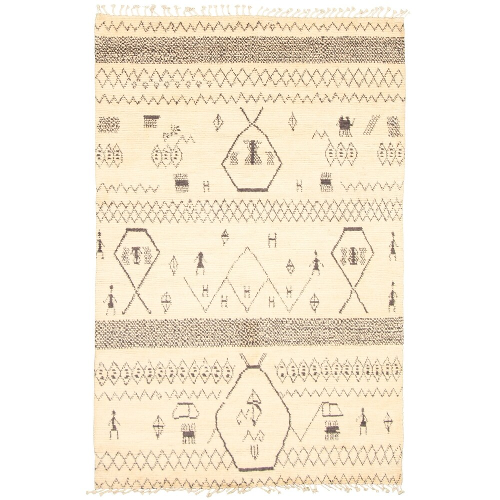 ECARPETGALLERY  Hand-knotted Pak Finest Marrakesh Cream Wool Rug - 5'9 x 8'9 (Cream - 5'9 x 8'9)