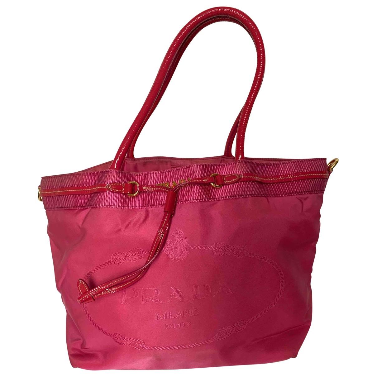 Prada Tessuto  Handtasche in  Rosa Leinen