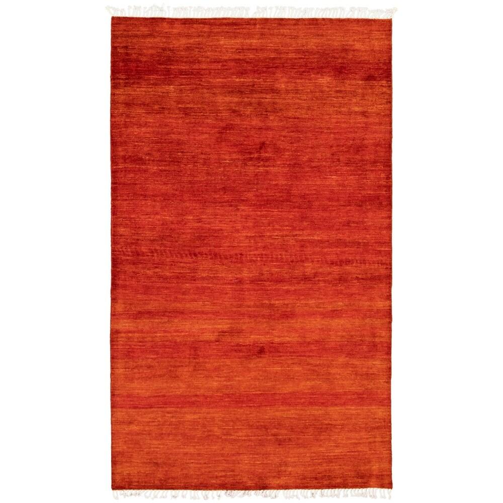 ECARPETGALLERY  Hand-knotted Pak Finest Gabbeh Copper Wool Rug - 4'11 x 7'11 (Dark Copper - 4'11 x 7'11)