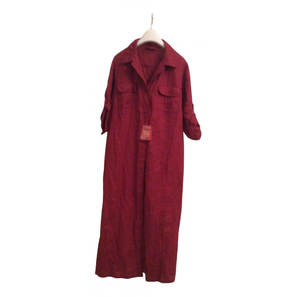 Krizia \N Kleid in  Bordeauxrot Leinen