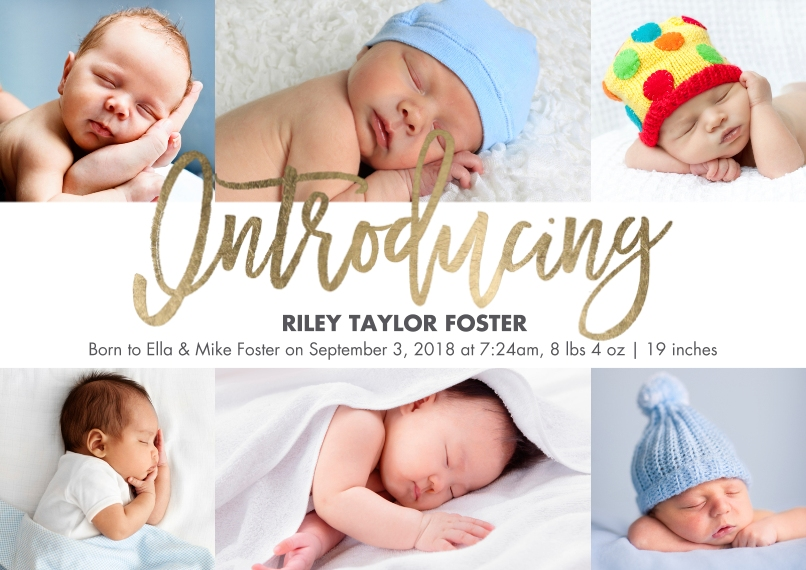 Baby Boy Announcements 5x7 Cards, Premium Cardstock 120lb with Scalloped Corners, Card & Stationery -Baby Introducing Gold Script