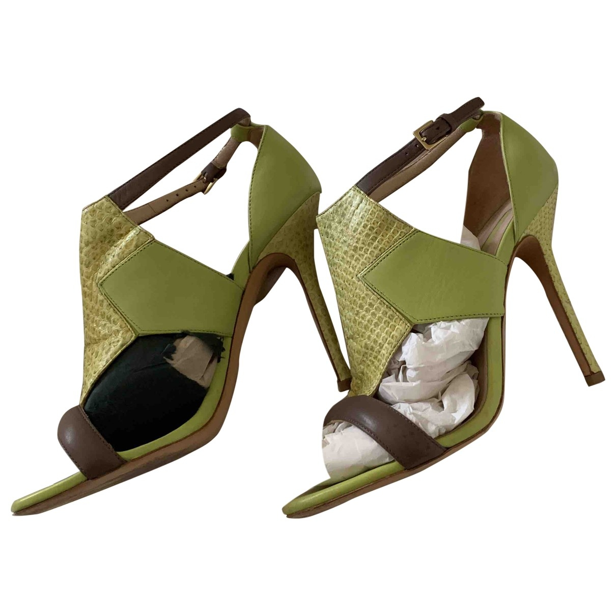 Elie Saab \N Green Leather Sandals for Women 38 EU