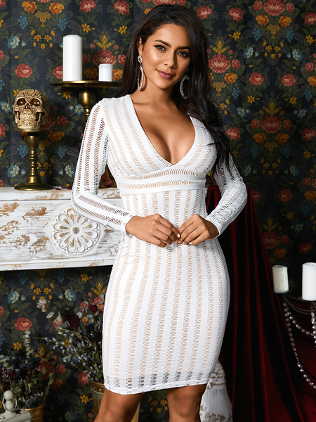 YOINS White Lace Striped Hollow Design Deep V Neck Long Sleeves Dress