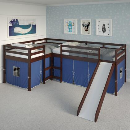 7600-TTCP_765-TB Donco 760 Double Twin L-Loft Bed In Dark Cappuccino Finish W/Blue Tent