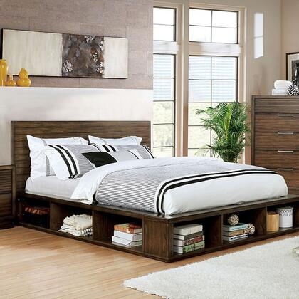 Torino Collection CM7543 Queen Bed With Slatted Headboard  Deep Wood Grain  Bookcase Skirt And Footboard In