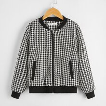 Boys Pocket Side Zip Up Houndstooth Bomber Jacket