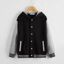 Boys Buttoned Front Striped Trim Hoodie