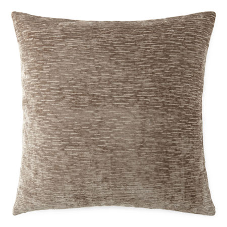 Stria Chenille Square Throw Pillow, One Size , Brown