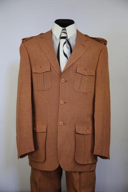 Mens Naval Style Wool Flap Pocket Rust Zoot Suit