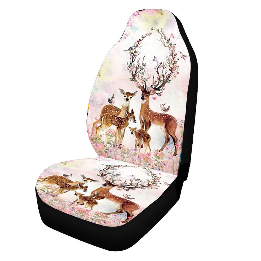 Animal Polyester Seat Cover Digital Print All Season Universal Fabric Seat Cover 2PCS Front Single Car Seat Covers Breathable Cool Comfortable And Dur