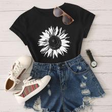 Schwarz Gebluemt  Laessig T-Shirts