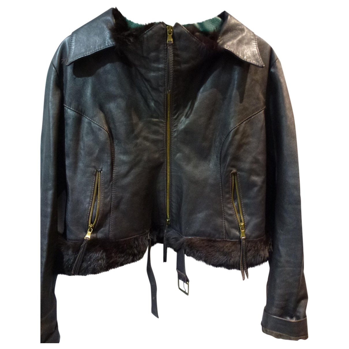 Non Signé / Unsigned \N Brown Leather jacket for Women 48 IT