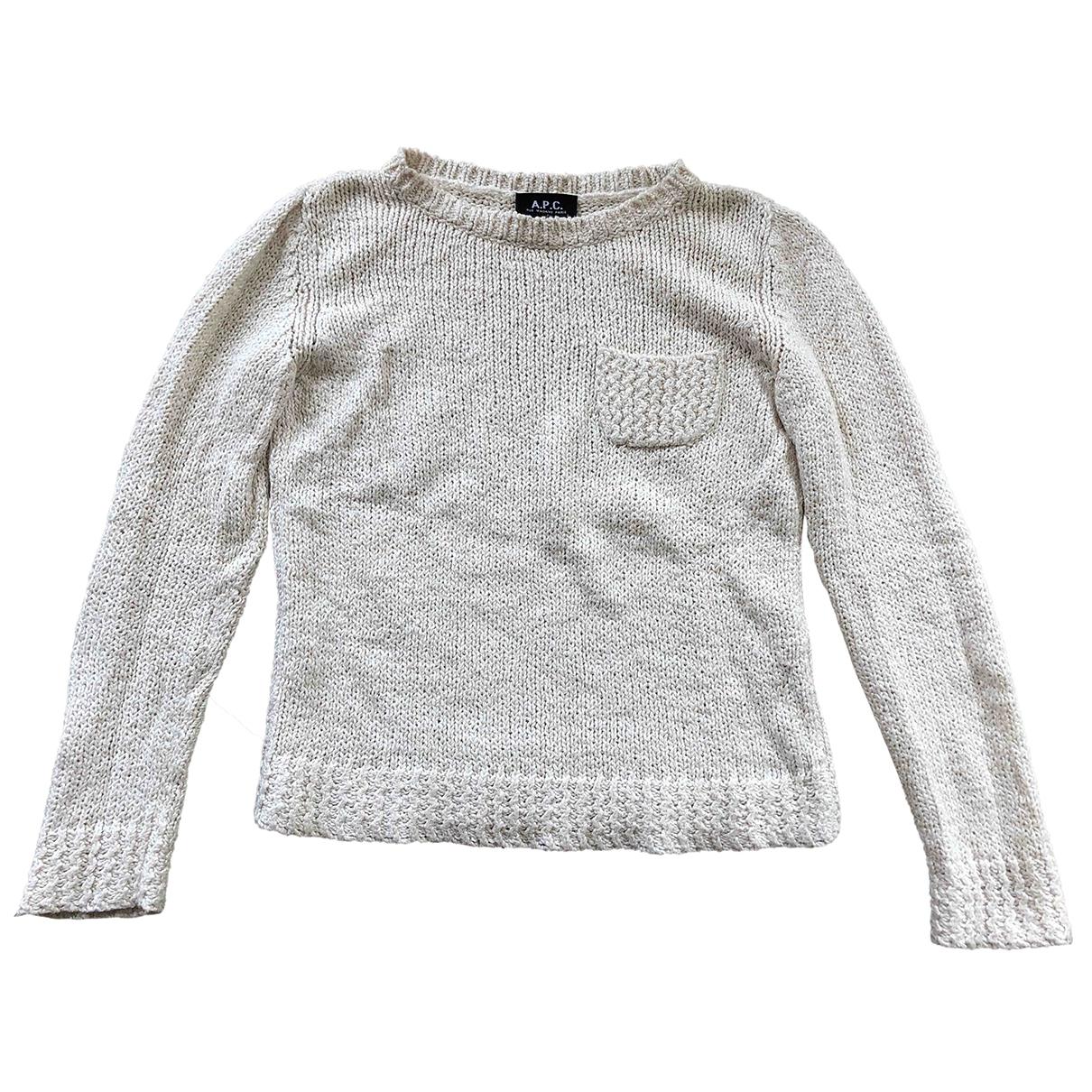 Apc - Pull   pour femme en coton - ecru